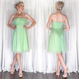 J Crew Green Chiffon Knee Length Bridesmaid Dress